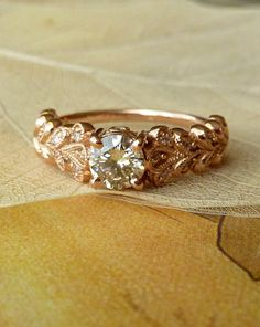 Rose Gold Vintage Petal Diamond Ring by http://etsy.com/shop/kateszabone