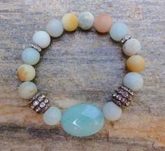 Boho Stretch Gemstone Bracelet Beach Bohemian by GlitterFusion