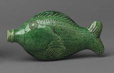 fish flasks or pocket bottles  Rudolph Christ pottery  Winston-Salem, North Carolina; 1810–30  Earthenware