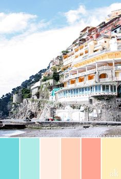 a Positano-inspired color palette // summer pastels of aqua, peach, and yellow // #Positano #Italy