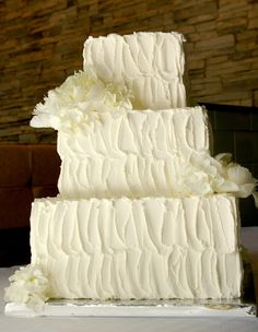 Textured frosting is another way to make a simple cake more interesting. Put different textures on each layer, or texture some and leave others smooth. Wedding Cupcake Recipes, 5 Tier Wedding Cakes, Textured Wedding Cakes, Square Wedding Cakes, Buttercream Wedding Cake, White Wedding Cakes, Elegant Wedding Cakes, Wedding Cake Designs, Square Cakes