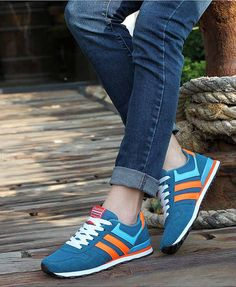 Women's #blue leather shoe #sneakers with stripe pattern, sewing thread design, Lace up style, Round toe design, casual sport, athletic occasions.