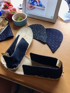 Along with making my first pair of socks a few months ago, I got to tick off another First this weekend when my friend Sophie came over and we made shoes! These actually weren't her first pai… Sewing Slippers, 1920s Shoes, Knit Shoes, Barefoot Shoes, Chelsea Ankle Boots, Recycled Denim, Shoes With Jeans, Slipper Socks, Sewing Projects