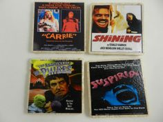 Scary Horror Movie Poster Drink Coasters  Phibes, Shining Carrie Suspiria