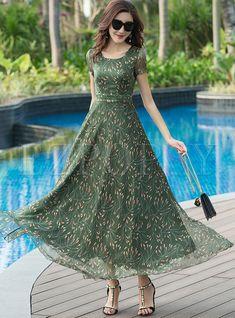 Green Floral Print Big Hem Maxi Dress – New Dresses Trendy Dresses, Casual Dresses, Fashion Dresses, Maxi Dresses, Outfit Formal, Party Dresses, Chiffon Maxi Dress, Lace Maxi, Floral Chiffon