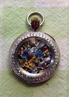 "Alice in Wonderland ""Tapestry White Rabbit"" micro-mosaic inside antique pocket watch by artist Tracey Davis"