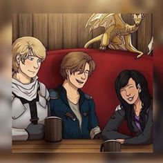This is so accurate! Laurance and Aphmau joking around, while Garroth daydreams of Aphmau. Ahh! So cute!