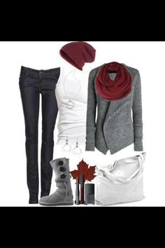 Casual wear with a splash of burgundy