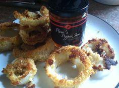 Oven fried ginger sourdough onion rings
