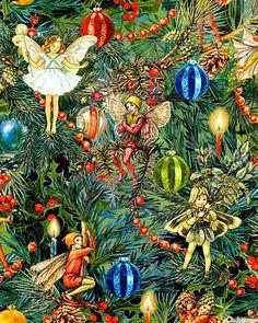 Cecily Barker Flower Fairies - Christmas fabric