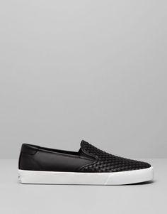 Pull&Bear - footwear - new products - braided slip on plimsolls - black - 13635012-V2015