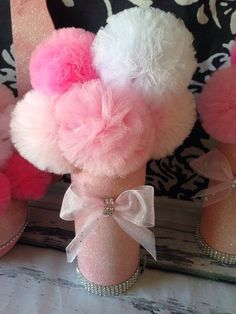 Items similar to Pink & White Glitter Tulle Pom Centerpieces, Shower Decorations on Etsy Tulle Centerpiece, Pom Pom Centerpieces, Baby Shower Centerpieces, Bridal Shower Decorations, Baby Shower Favors, Baby Shower Parties, Glitter Centerpieces, Tulle Decorations, Fiesta Baby Shower