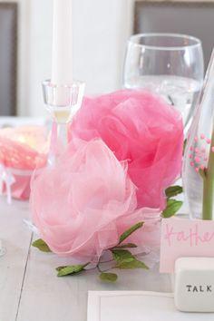 tulle roses for shower decor