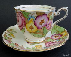 Royal Albert UK Tea Cup & Saucer Set Bouquet 1940s Bone China Vintage Flowers #RoyalAlbert
