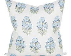 Lisa Fine Mughal Flower Pillow Cover in Monsoon // Designer Flower Pillow // Blue Throw Pillows // Farmhouse Pillow Cover Down Pillows, Throw Pillows, Lumbar Pillow, White Pillows, Coastal Bedrooms, Guest Bedrooms, Guest Room, Flower Pillow, Modern Pillows