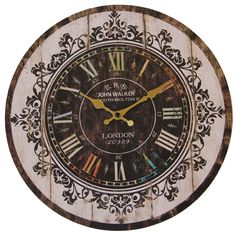Amazon.com - JustNile Rustic Country-Style Round Wall Clock - 13-inch Colorful Roman Numerals -