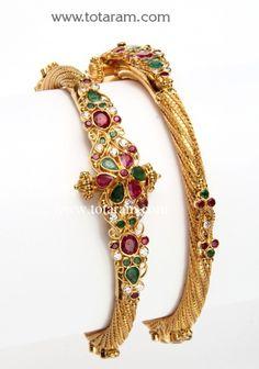 22K Gold Kada with Ruby: Totaram Jewelers: Buy Indian Gold jewelry & 18K Diamond jewelry