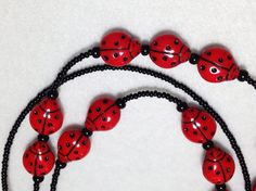 Ladybug  beaded lanyard   red and black glass by llanywynns, $22.00
