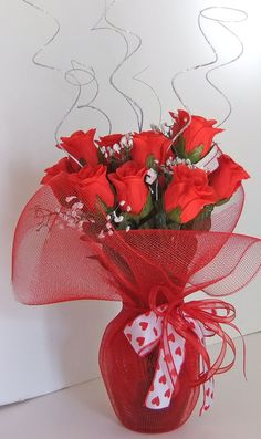Red Roses Centerpiece by wreathmiccreations on Etsy, $19.00