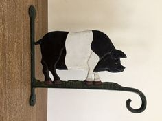 Cast Iron Pig Wall Mount Hook Painted Cast Iron by TrouveLaJoie