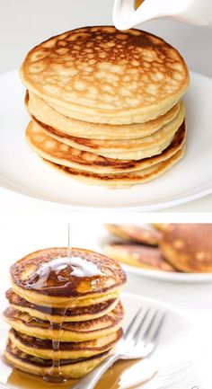 Keto Low Carb Pancakes with Almond Flour & Coconut Flour Paleo Gluten-Free - These keto low carb pancakes with almond flour and coconut flour are so easy fluffy and delicious. Paleo and gluten-free too! Coconut Flour Pancakes, Low Carb Pancakes, Gluten Free Pancakes, Pancakes Easy, Low Carb Breakfast, Breakfast Recipes, Fluffy Pancakes, Best Keto Pancakes, Greek Yogurt Pancakes