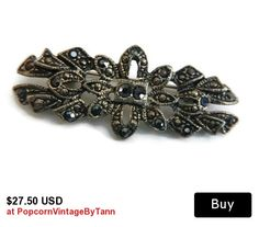 Art Deco Black Marcasite Brooch Pin, Victorian Revival Marcasite Brooch, Antique Marcasite Mourning Pin Brooch, Black Rhinestone Brooch Pin