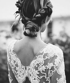 Lace back detailing & bridal updo.