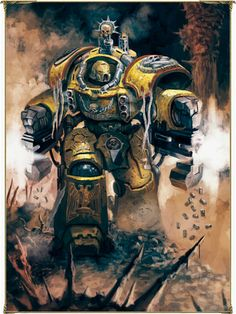Emperors Fist with twin power fists and under slung Bolters, Tartarous Pattern Dreadnaught Terminator Armor. Kicking ass