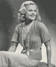 1940s BedJacket Pattern Knit Vintage   - RibbonTrimmed Feminine LACY EYELET JACKET Pattern. $3.99, via Etsy.