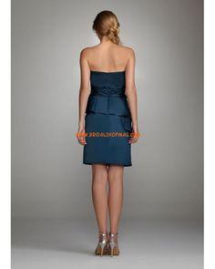 Short Strapless Satin Peplum Dress
