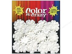 """Petaloo Color Me Crazy are all White or Ivory shapes like flowers, leaves, bugs, frames, and more, that you can stamp, ink, or mist. Take out a protective mat and """"color"""" away, to make one-of-kind, beautiful embellishments in seconds. Flower Mini Delphinium White 28pc- Mulberry paper flowers in assorted sizes that range from 3/4"""" wide up to 1.25"""" wide and have 6 to 12 petals per piece."""