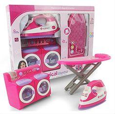 Mini Family Washing Laundry Toy Set for Kids Includes a Washing Machine, Iron…