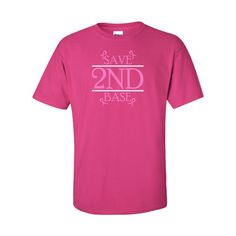 IamTee Save 2nd Base Breast Cancer Tshirt-Pink-XXL Thing 1, Breast Cancer, Base, Clothing, Mens Tops, Pink, T Shirt, Stuff To Buy, Fashion