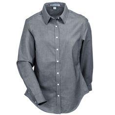 Port Authority Women's L658 BLK Stain-Resistant Black Long-Sleeve SuperPro Button Down Shirt