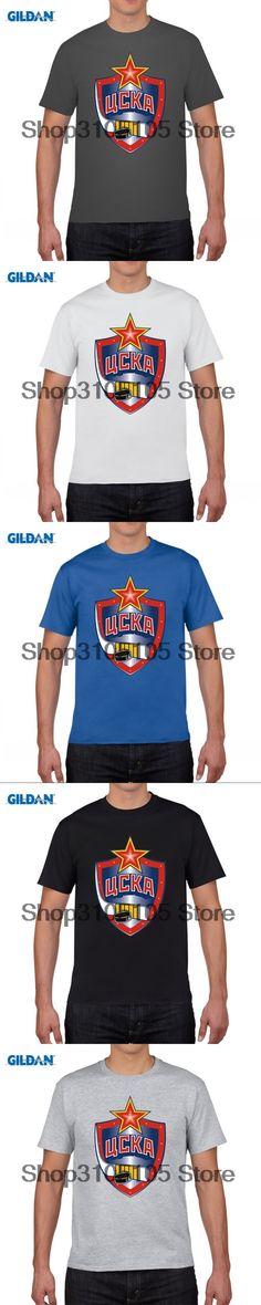 GILDAN designer t shirt CSKA Moscow T-shirt cotton Lycra top 11024 Fashion Brand t shirt men new DIY Style high quality