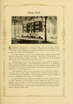 Athena yearbook, 1925. Super Hall was demolished in 1976. After remaining an empty lot for years, Bentley Hall Annex now fills its spot.. :: Ohio University Archives