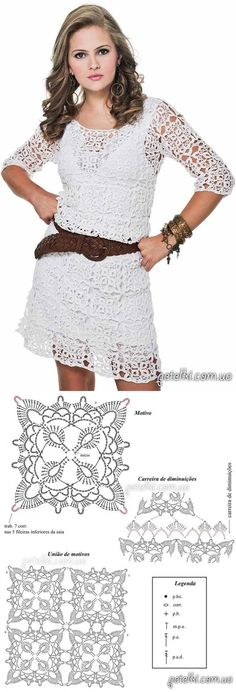 Белое платье из квадратных мотивов. Схемы