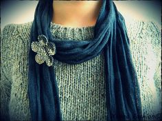 Brooch on scarf