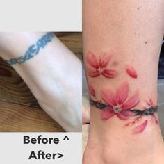 Cover up, cherry blossoms, tattoo, ink, ankle tattoo, ankle band, tribal, water color tattoo  20-year old tribal cover up cherry blossom