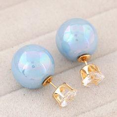 metal flash drilling imitation charming pearls studs