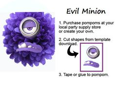 Despicable Me 2 Evil Purple Minion Pompom Face by IsabellasPrints, $3.50