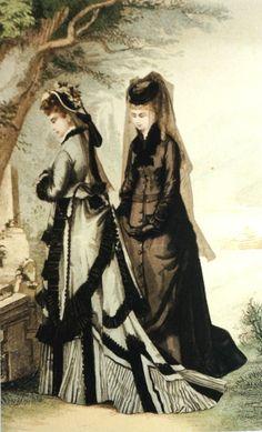 """Fashion picture """"Mourning"""", Vienna 1875 _________________________ Modebild """"Trauer und Halbtrauer"""" @ Wien Museum"""