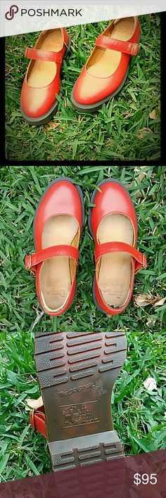 """Dr.  Martens Mary Jane Shoes """"Indica""""(Cherry)Red Mary Jane style shoe by Dr.  Martens! This shoe sets the standards for Mary Jane's!    (Reads US 7 BUT RUNS slightly LARGE.... fits more like a size US 7 1/2!)  Worn once....no box...LIKE NEW!  Features Air Soles for a more comfortable casual wear.   As with most Dr. Martens there is about a 1/2 inch sole to give you a slight boost in height. Dr. Martens Shoes Flats & Loafers"""