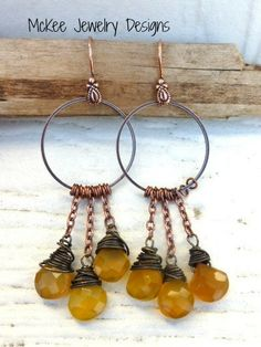 Honey yellow faceted Chalcedony briolettes with copper hoops. Earrings. McKee Jewelry Designs