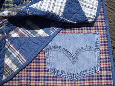 Use a denim pocket to label a quilt. You can even put a few scraps from the quilt inside the label for future repairs too.