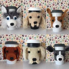 Dog mug cozy round up. Click the link in my profile to see if your favorite breed has been recreated in yarn!  #hookedbyangel