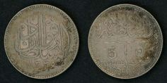 Egypt Silver 5 Piastres Sultan Fuad The First Coin Scarce 1920 AD or 1338 AH One Year Type