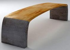 Swilken Bench designed by Sandy Maple. Reclaimed wood flooring with concrete bases. via Luxist