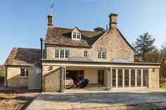 colour of bi-fold patio doors Orangery Extension Kitchen, Orangerie Extension, Cottage Extension, Conservatory Extension, Glass Extension, Roof Extension, Extension Ideas, Kitchen Extension Listed Building, Garden Room Extensions
