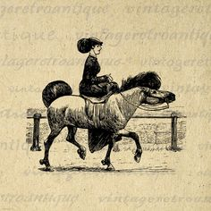 Digital Old Fashioned Woman Riding Horse Image Graphic Printable Download Vintage Clip Art. Printable high resolution digital image illustration. This vintage high quality digital artwork works well for iron on transfers, making prints, pillows, papercrafts, and other great uses. For personal or commercial use. This image is high quality, large at 8½ x 11 inches. A Transparent background png version is included.